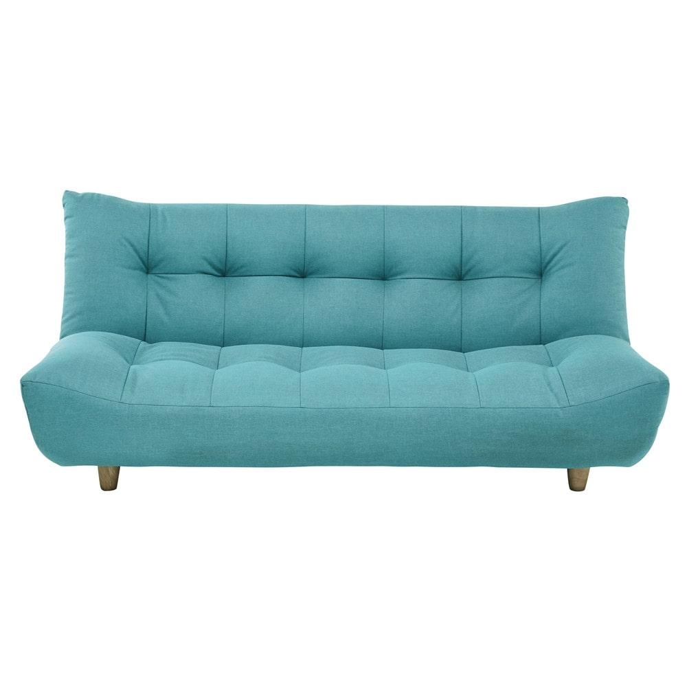 3 Seater Clic Clac Sofa Bed In Turquoise Blue Cloud | Maisons Du Monde Inside Aqua Sofa Beds (Image 1 of 20)