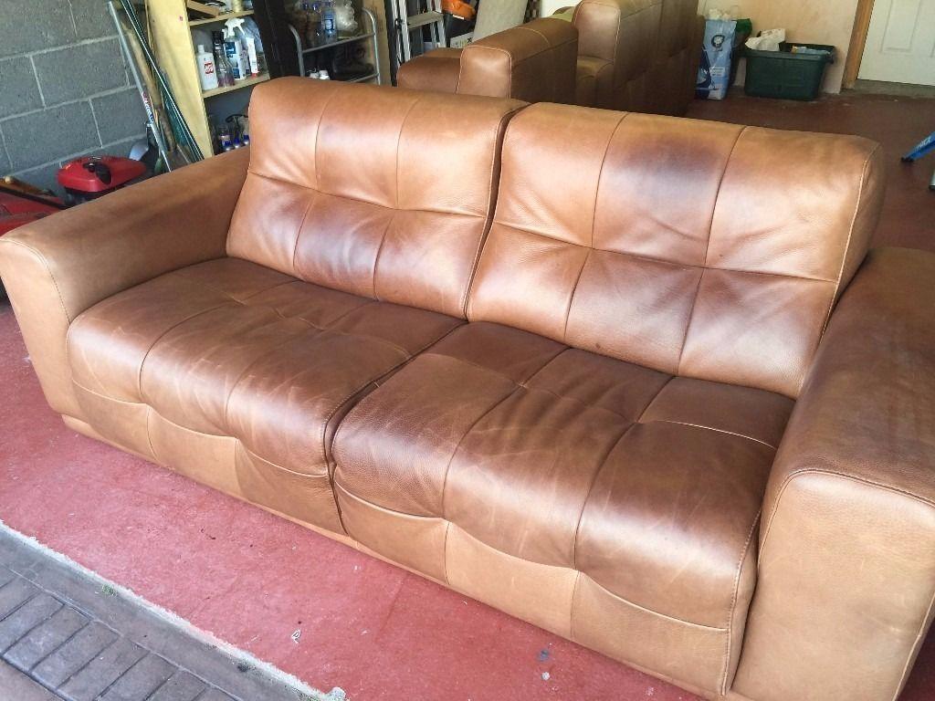 3 Semi Aniline Leather Incanto Leather Sofas For Sale | In with regard to Aniline Leather Sofas