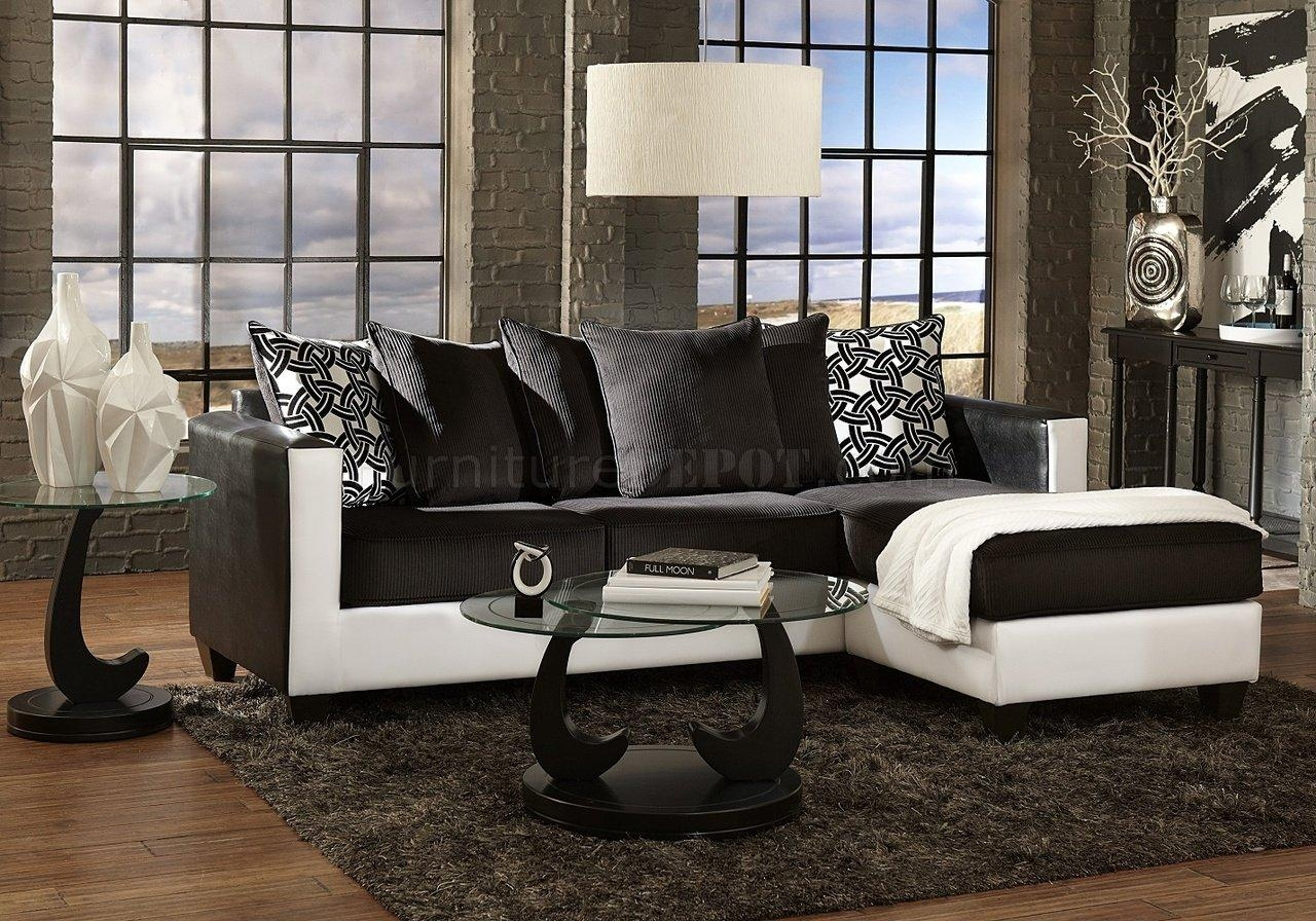3001 Sectional Sofa In Black & White Pertaining To Black And White Sectional (Photo 3 of 15)