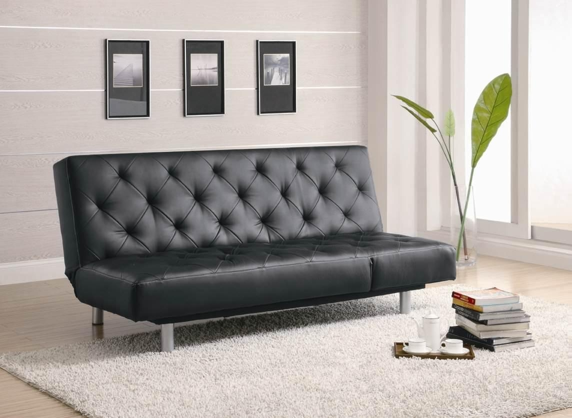 300304 Sofa Bed In Blackcoaster Within Black Vinyl Sofas (Image 2 of 20)