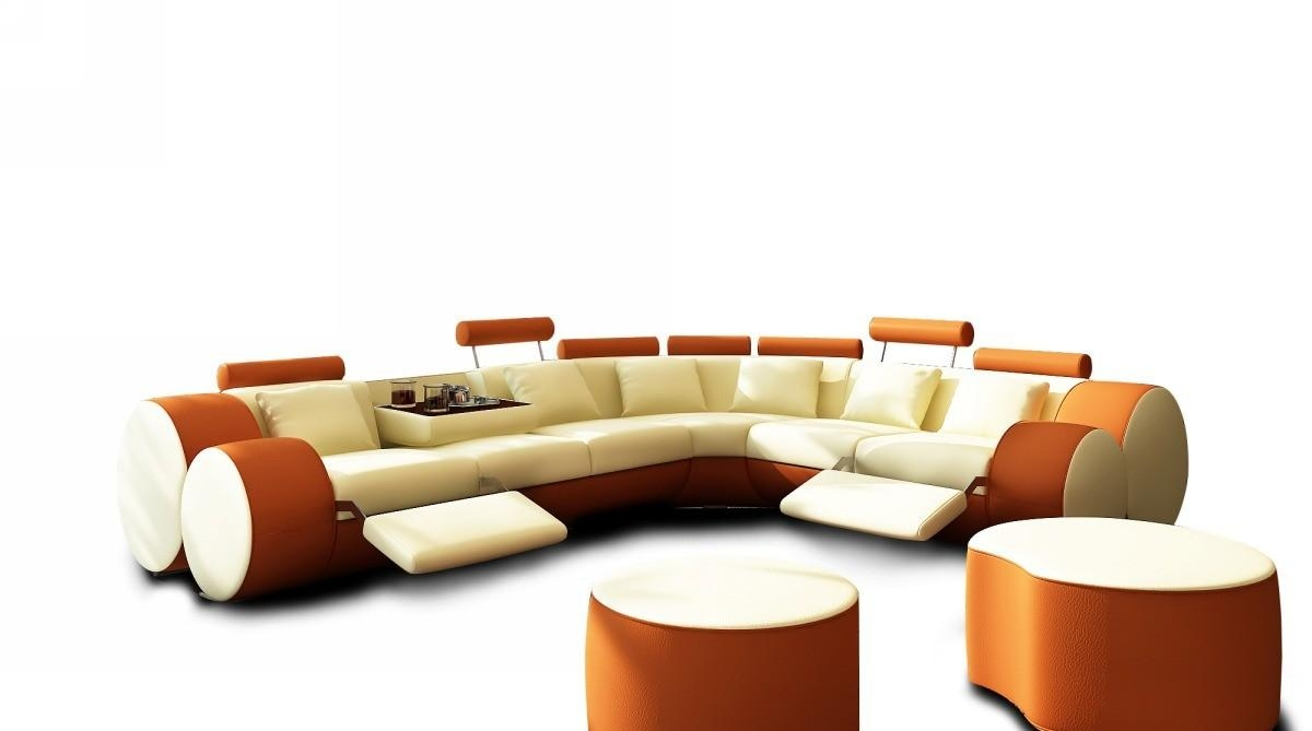 3087 Modern Beige And Orange Leather Sectional Sofa And Coffee Table Throughout Orange Sectional Sofas (Image 1 of 20)