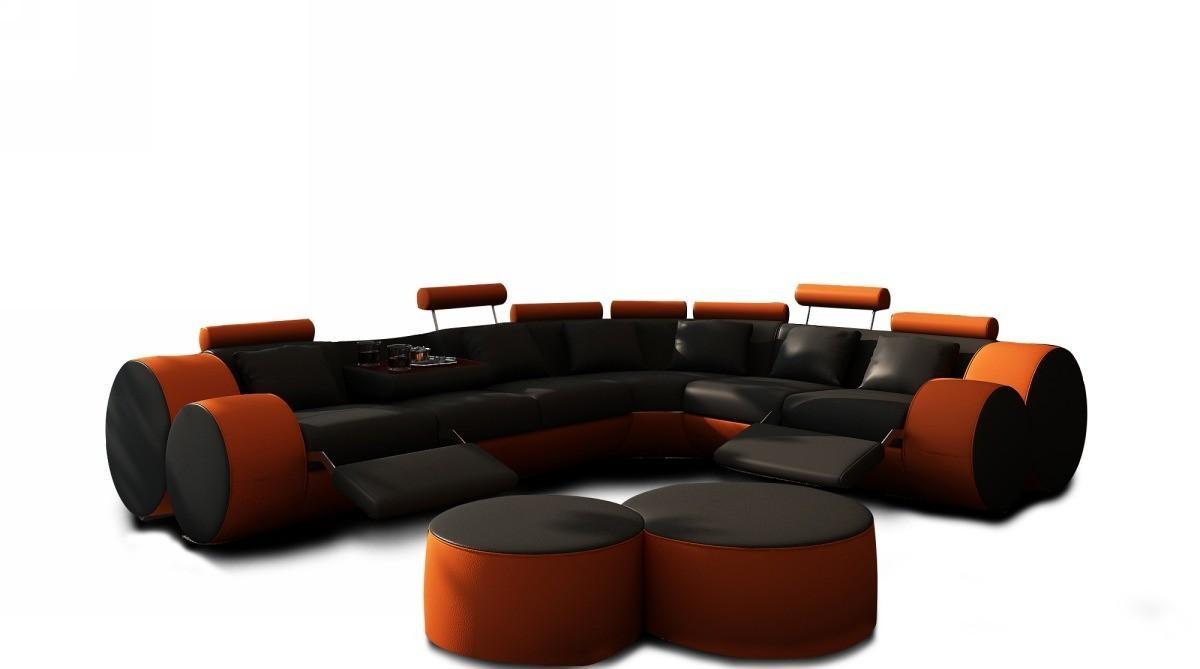 3087 Modern Black And Orange Leather Sectional Sofa And Coffee Table in Orange Sectional Sofa