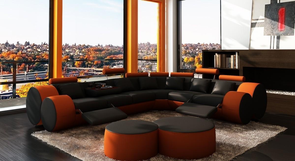 3087 Modern Black And Orange Leather Sectional Sofa And Coffee Table throughout Orange Sectional Sofa