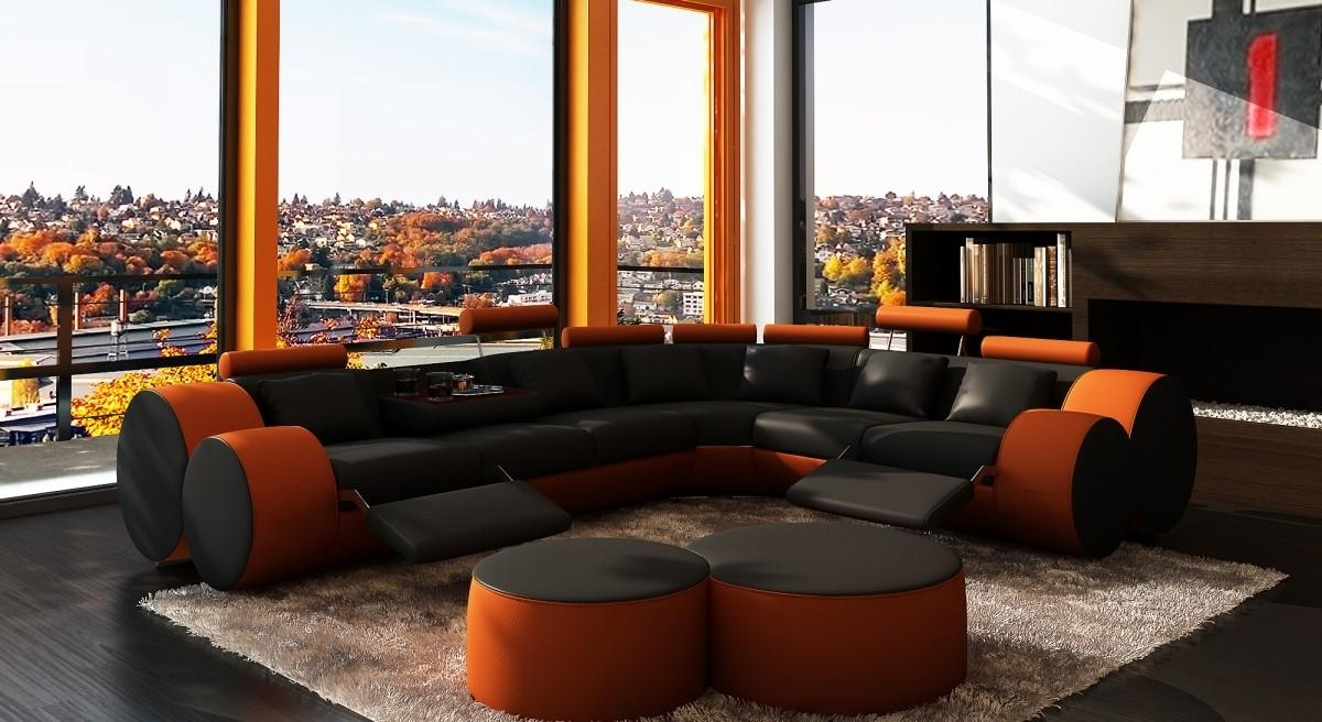 3087 Modern Black And Orange Leather Sectional Sofa And Coffee Table With Orange Sectional Sofas (Image 2 of 20)