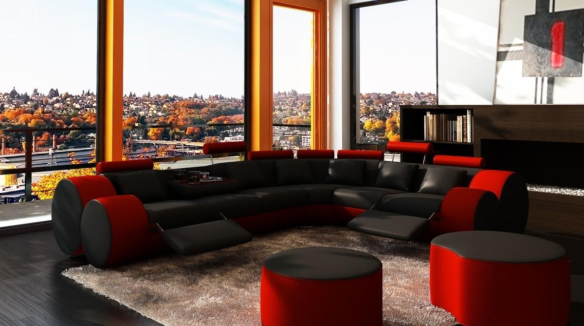 3087 Modern Black And Red Leather Sectional Sofa And Coffee Table Inside Red Black Sectional Sofa (Image 2 of 20)