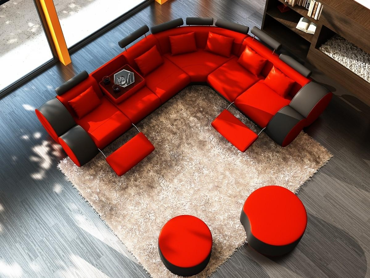 3087 Modern Black And Red Leather Sectional Sofa And Coffee Table Intended For Red Black Sectional Sofa (Image 3 of 20)