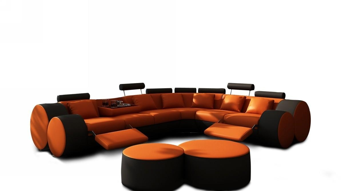 3087 Modern Orange And Black Leather Sectional Sofa And Coffee Table Pertaining To Orange Sectional Sofas (Image 3 of 20)