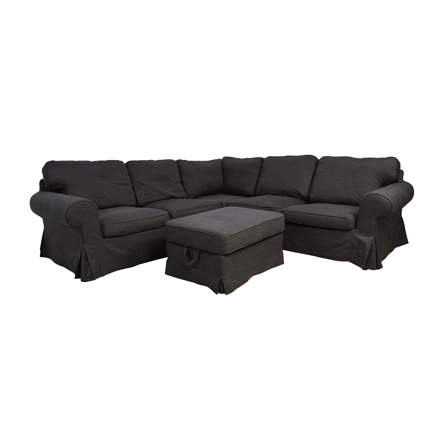 39% Off - Ikea Ikea Ektorp Gray Corner Sectional With Ottoman / Sofas within Used Sectionals