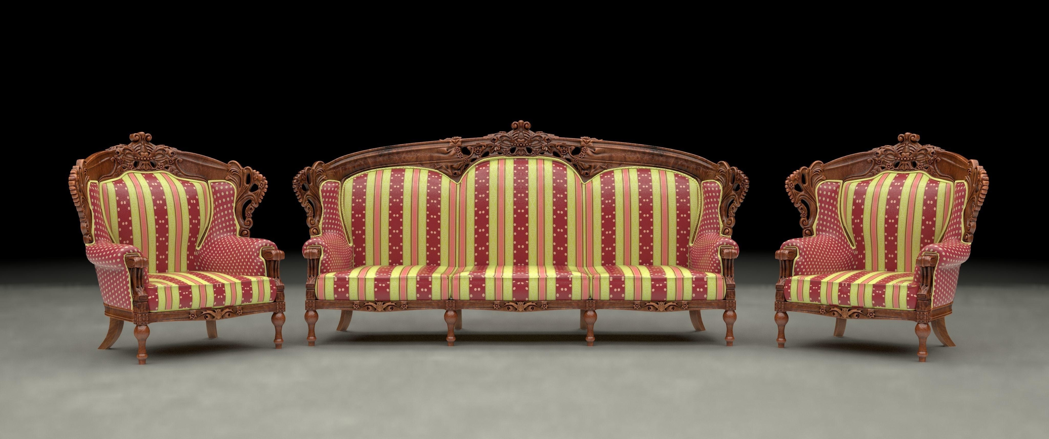 3D Model Ethnic Carved Wood Sofa And Armchair | Cgtrader With Regard To Carved Wood Sofas (Image 3 of 20)