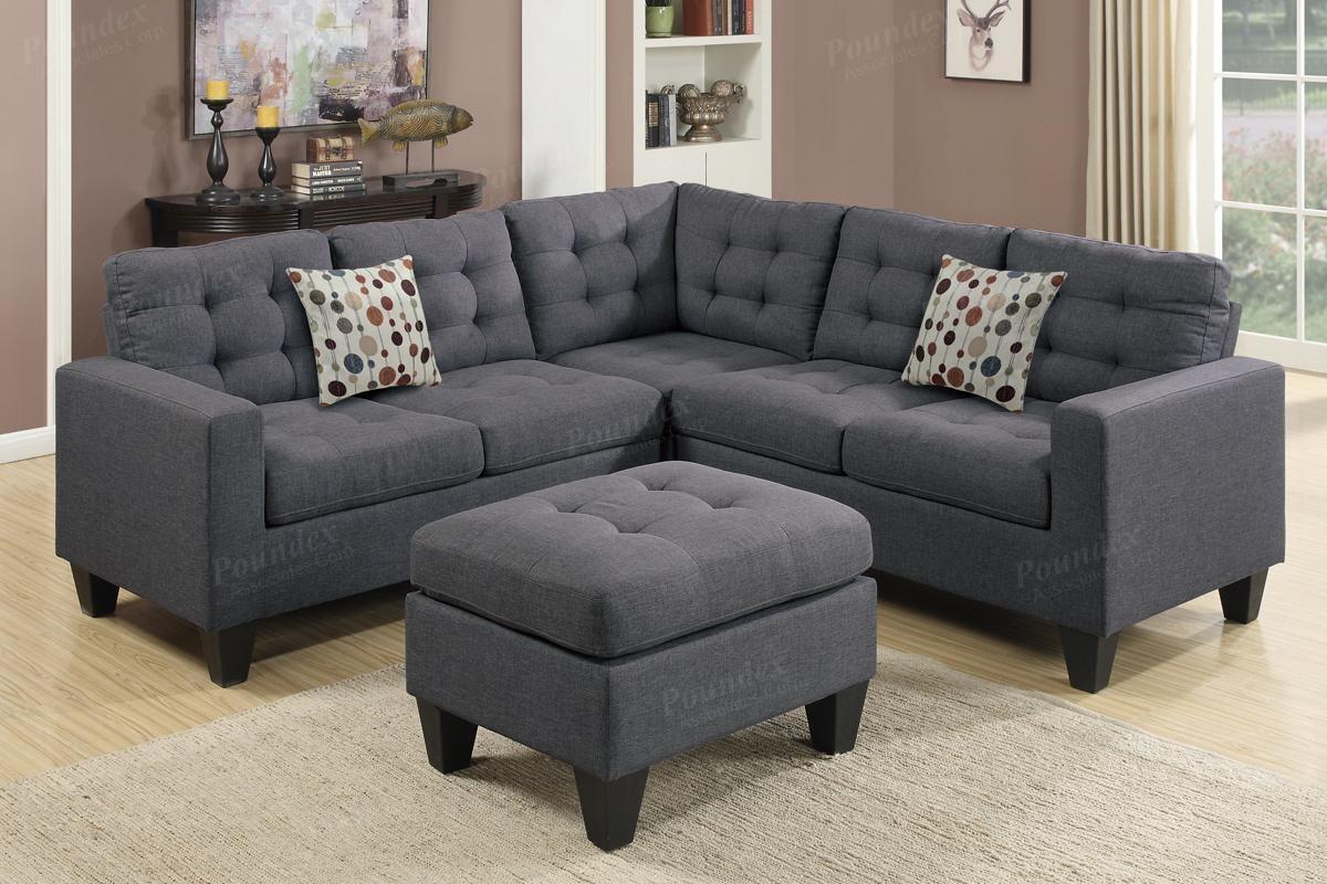 4 Pcs Modular Sectional | Modular Sectional / Sofa | Bobkona In Poundex Sofas (View 19 of 20)