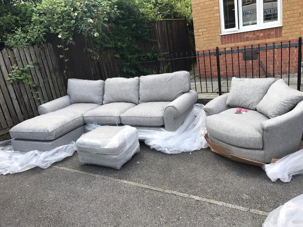 4 Seater Chaise Lounge Corner Sofa With Cuddle Swivel Chair And intended for Corner Sofa and Swivel Chairs