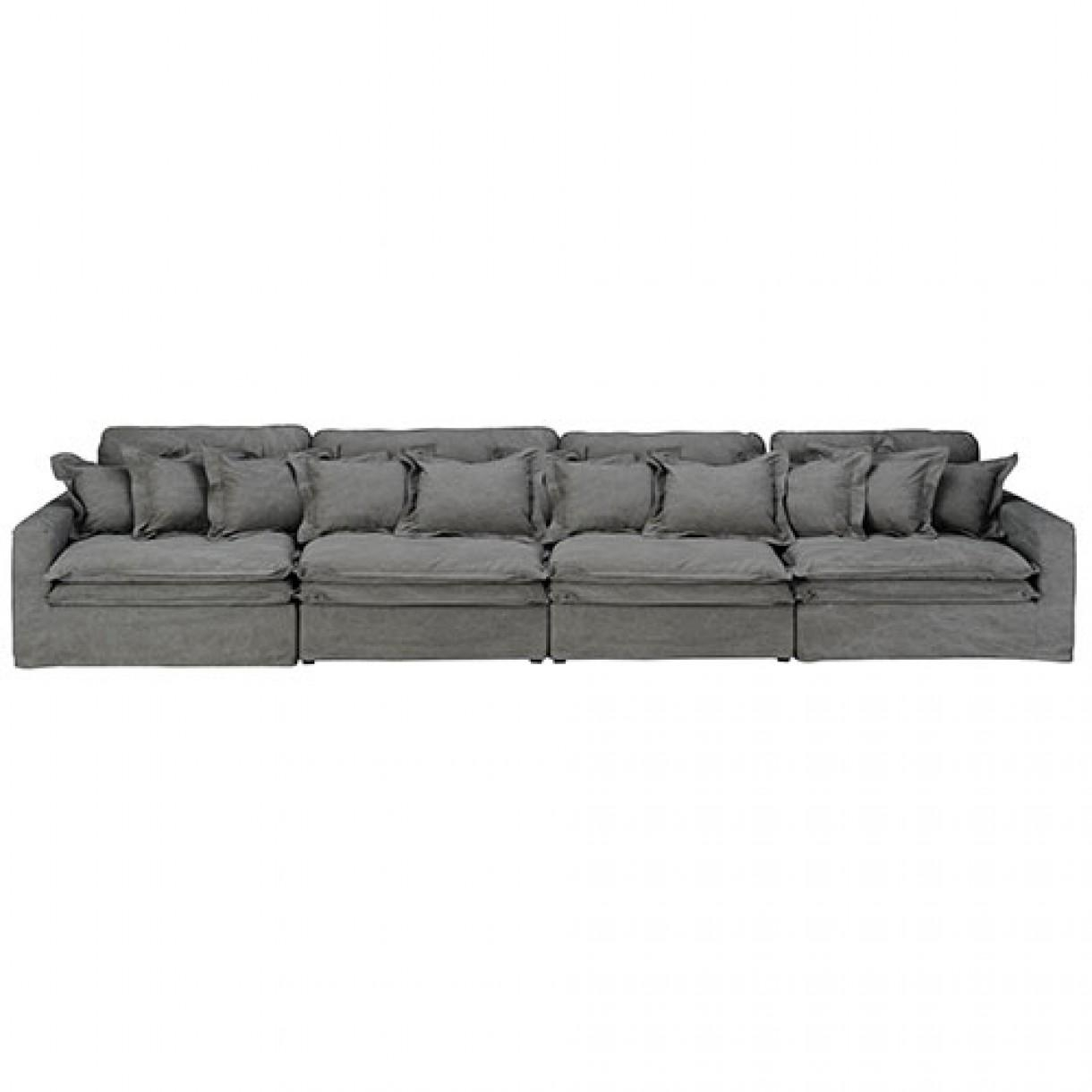 4 Seater Sofa Vintage Grey Cotton intended for Four Seat Sofas