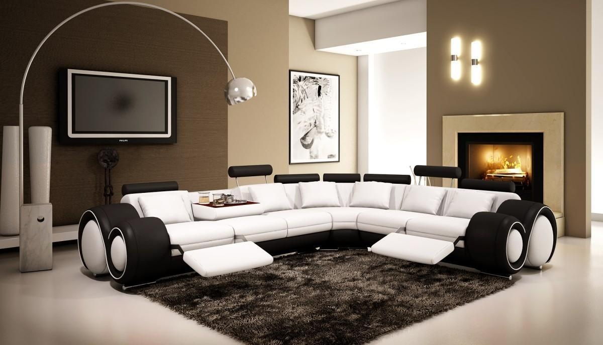 4087 – Black And White Half Leather Sectional Sofa With Recliners Regarding Black And White Sectional (Image 2 of 15)