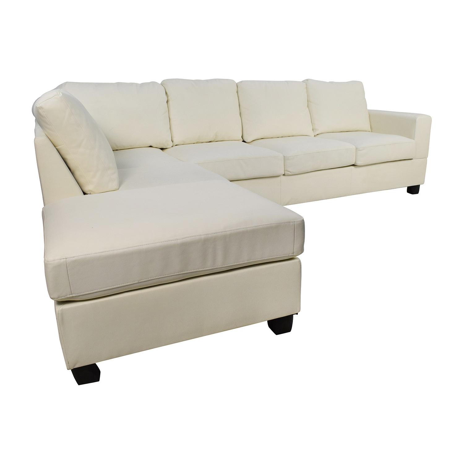 45% Off - L-Shaped White Leather Sectional / Sofas with regard to Used Sectionals
