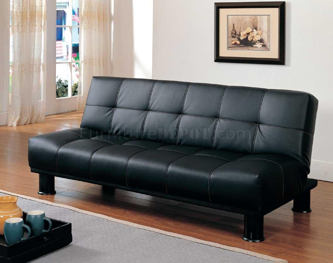 4791Pu Elegant Sofa Bed Convertible In Black Vinylhomelegance Within Black Vinyl Sofas (Image 3 of 20)