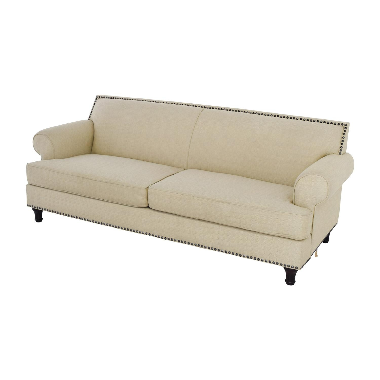 48% Off – Pier 1 Pier 1 Carmen Tan Couch With Studs / Sofas For Pier 1 Sofa Beds (Image 2 of 20)