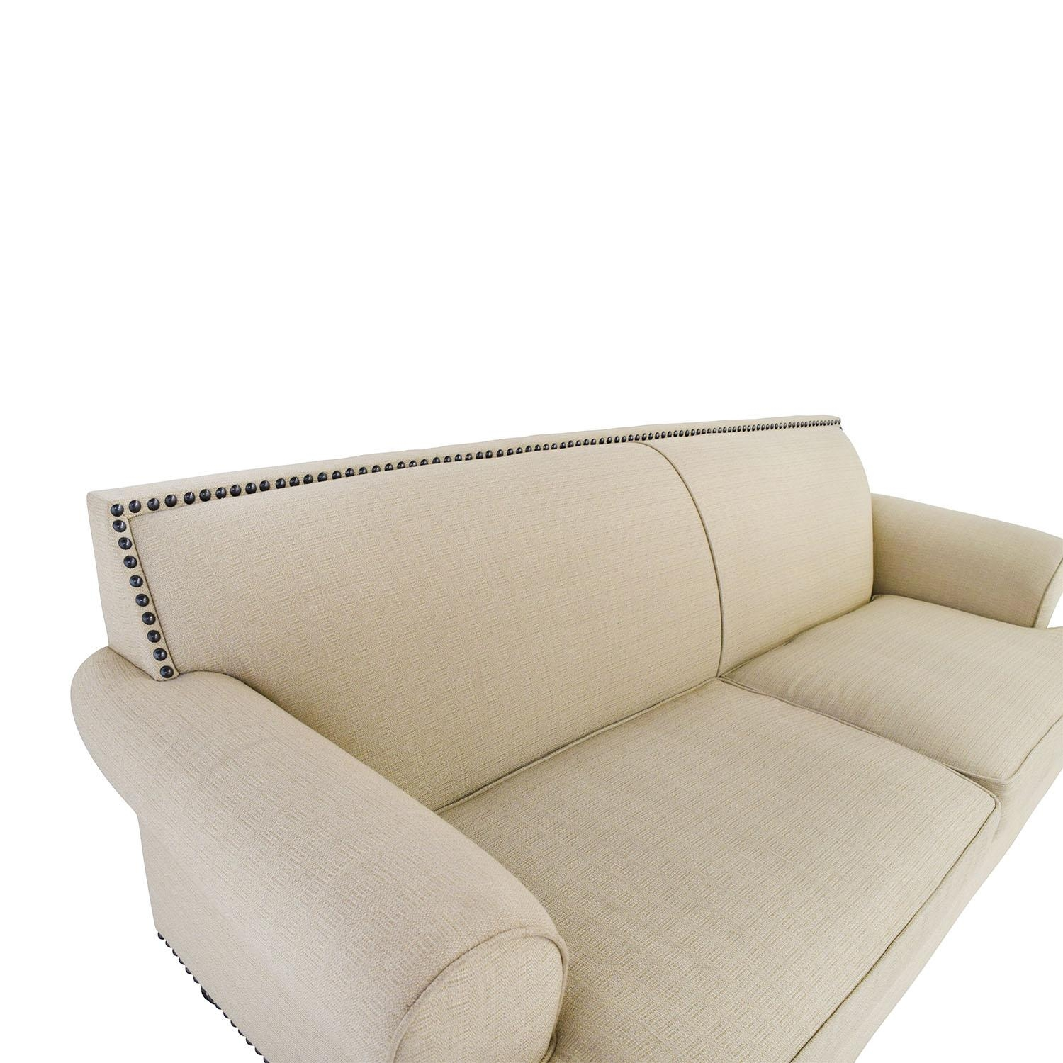 48% Off – Pier 1 Pier 1 Carmen Tan Couch With Studs / Sofas Intended For Pier 1 Sofa Beds (Image 3 of 20)