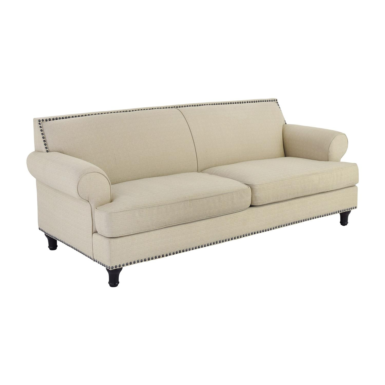 48% Off – Pier 1 Pier 1 Carmen Tan Couch With Studs / Sofas Within Pier 1 Sofas (Image 3 of 20)