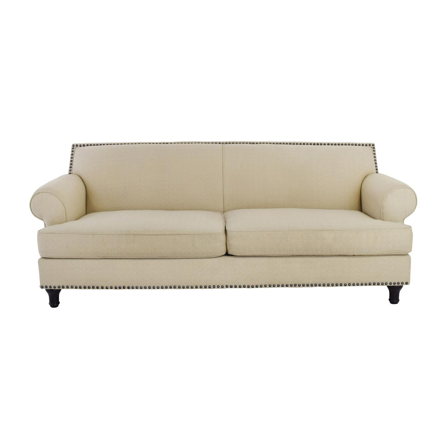 48% Off - Pier 1 Pier 1 Carmen Tan Couch With Studs / Sofas within Pier One Carmen Sofas