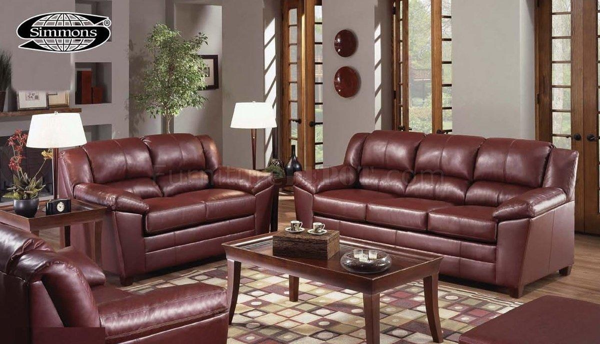 4955 Wine Bonded Leather Sofa & Loveseat Setjust In Time For Simmons Bonded Leather Sofas (Image 1 of 20)