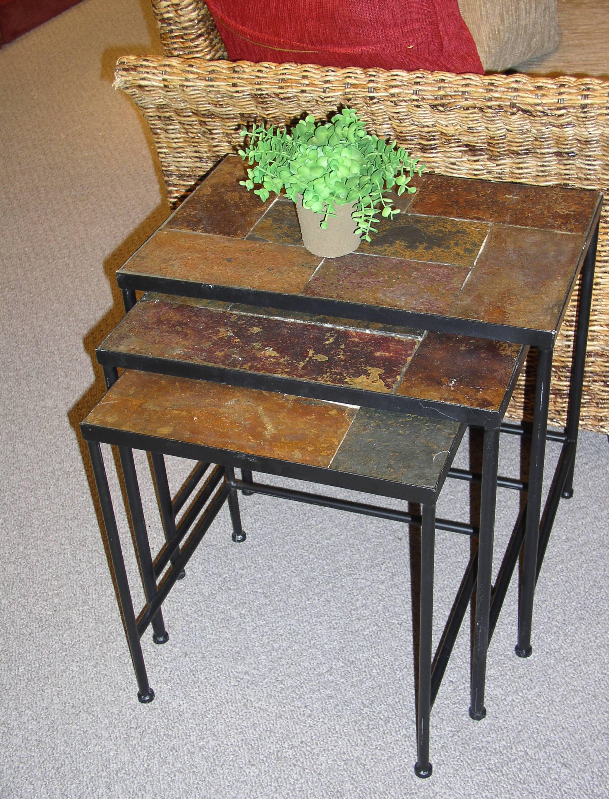 4D Concepts 3 Piece Nesting Tables W/ Slate Tops In Black Metal Intended For Slate Sofa Tables (View 8 of 20)