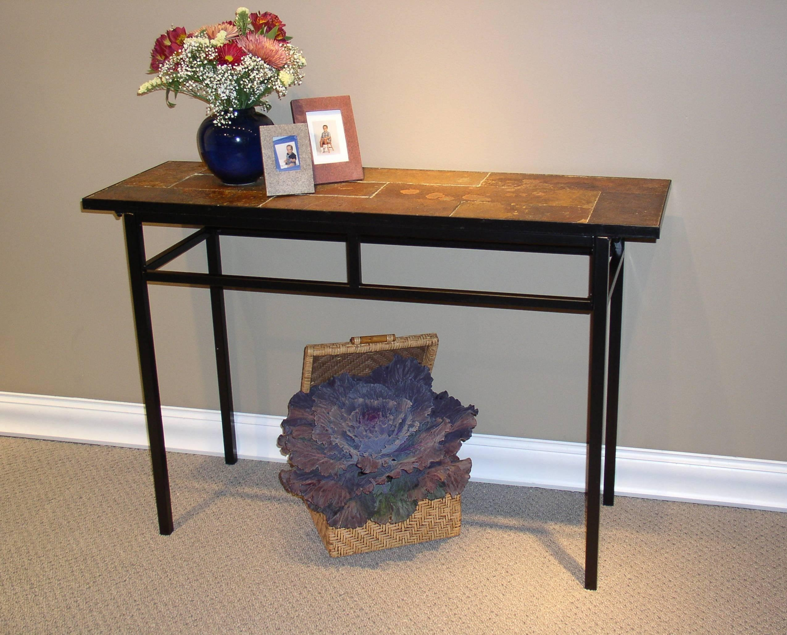 4D Concepts Sofa Table W/ Slate Top In Metal – Beyond Stores For Slate Sofa Tables (Image 2 of 20)