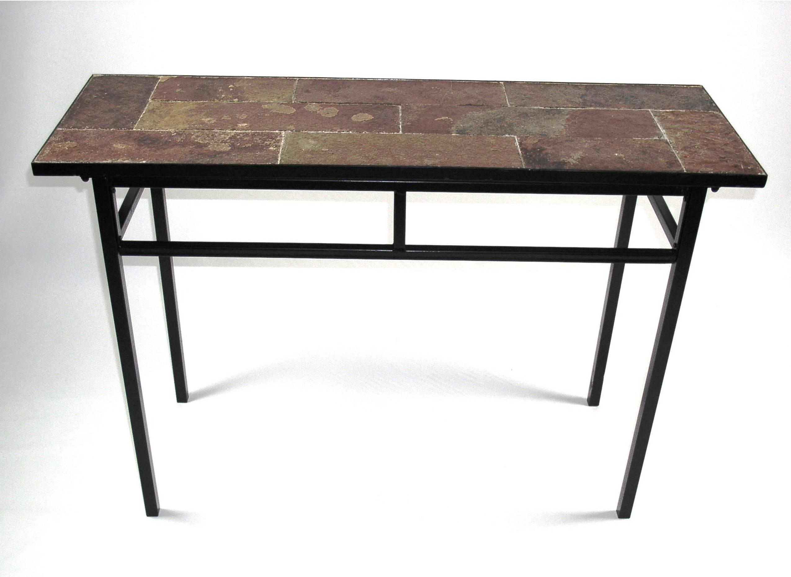 4D Concepts Sofa Table W/ Slate Top In Metal - Beyond Stores with Slate Sofa Tables