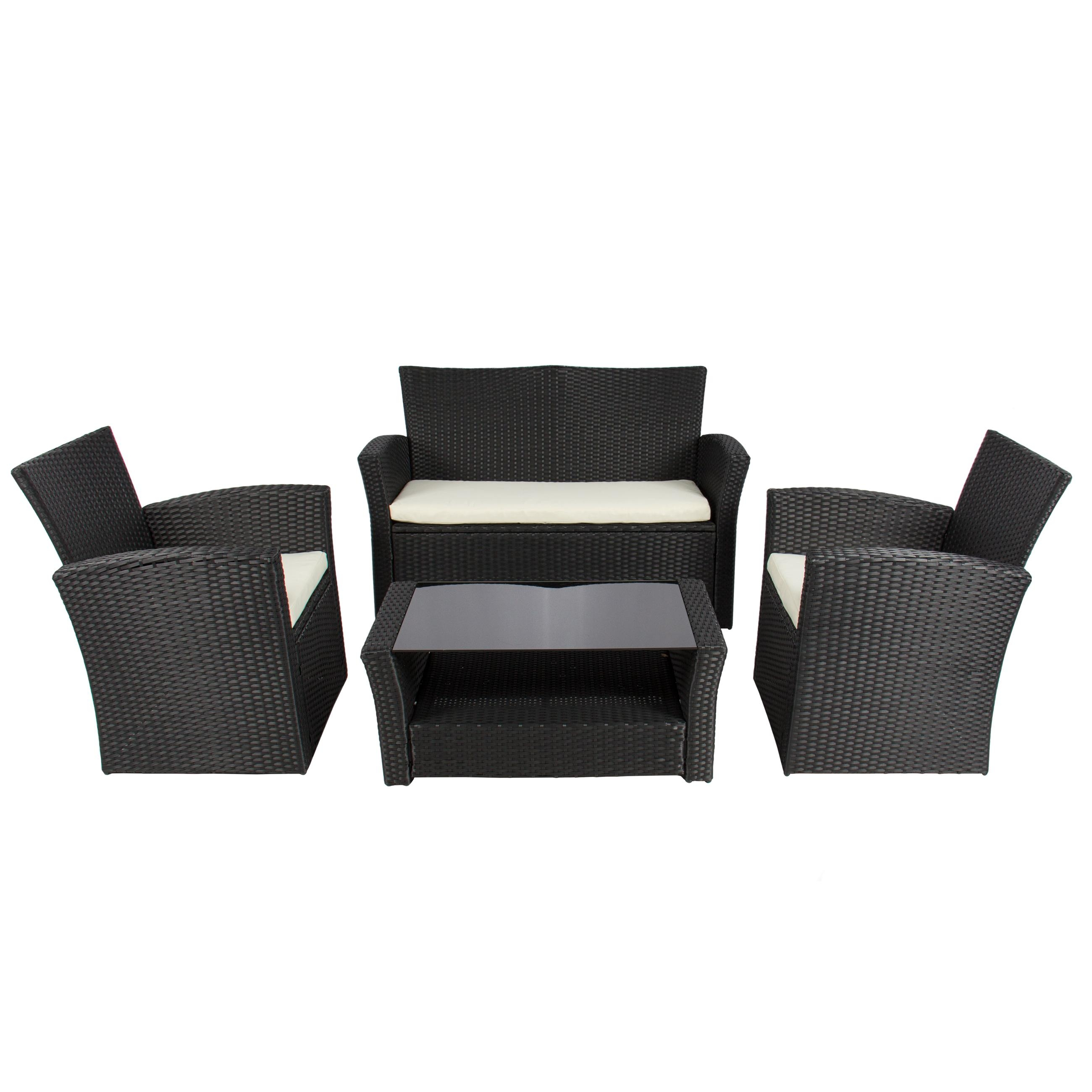 4Pc Outdoor Patio Garden Furniture Wicker Rattan Sofa Set Black Regarding Black Wicker Sofas (View 12 of 20)