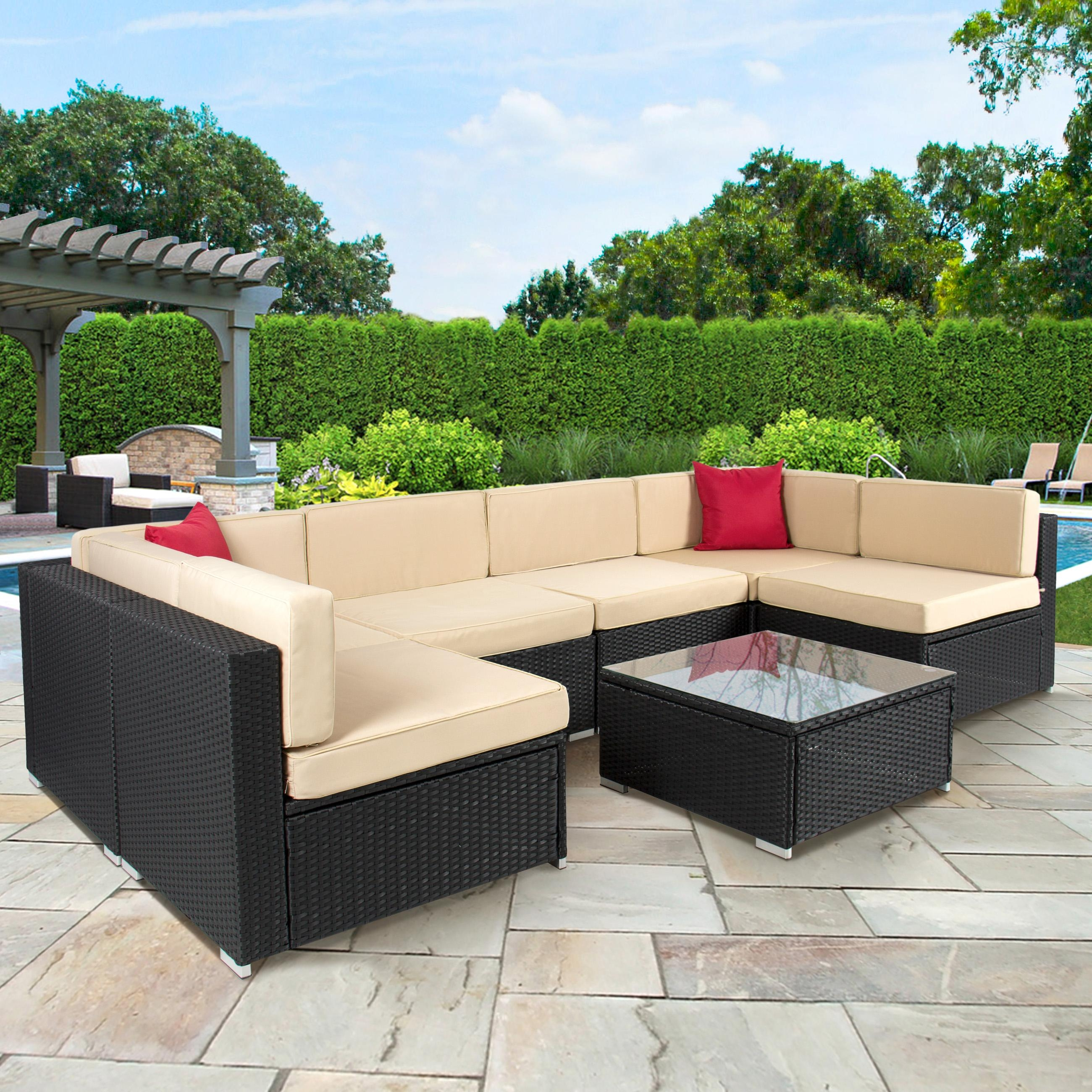 4Pc Outdoor Patio Garden Furniture Wicker Rattan Sofa Set Black within Outdoor Sofa Chairs