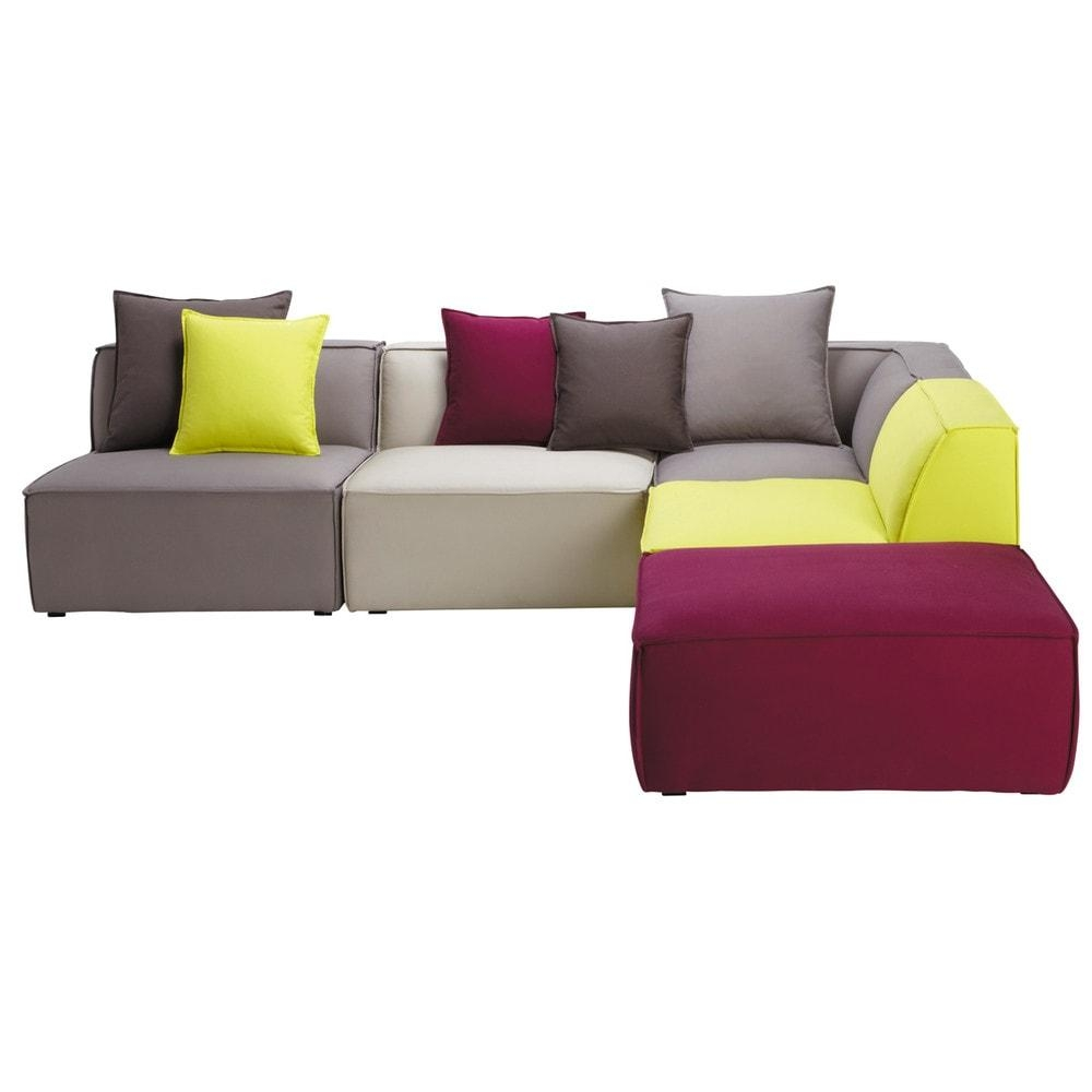 5 Seater Cotton Modular Corner Sofa, Multicoloured Floride Pertaining To Modular Corner Sofas (View 6 of 20)