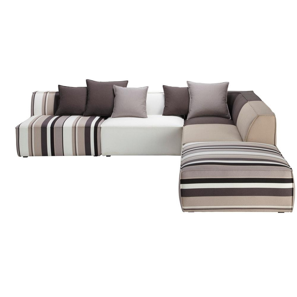 5 Seater Cotton Modular Corner Sofa, Striped Manhattan | Maisons Inside Modular Corner Sofas (View 16 of 20)