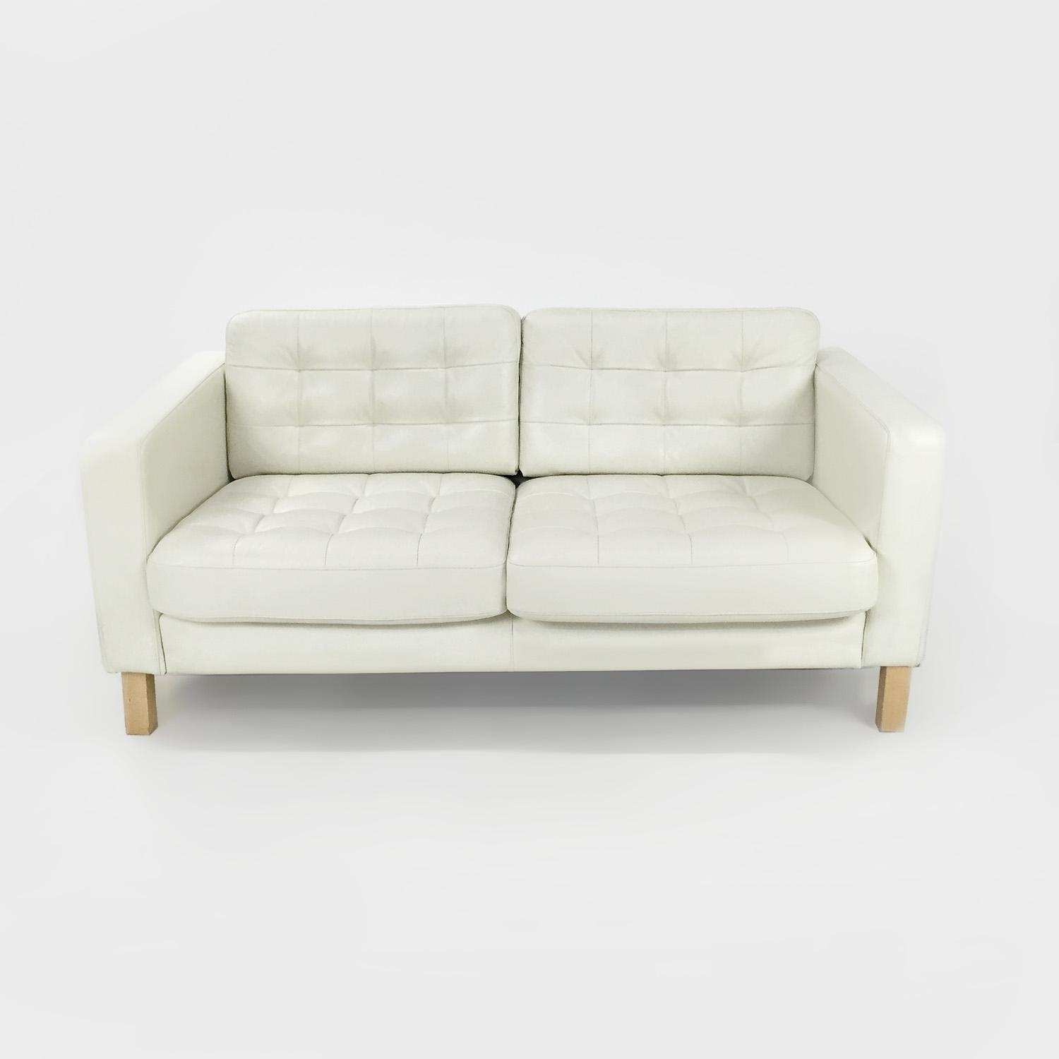 50% Off – Ikea White Leather Couch / Sofas Inside Off White Leather Sofa And Loveseat (View 9 of 20)