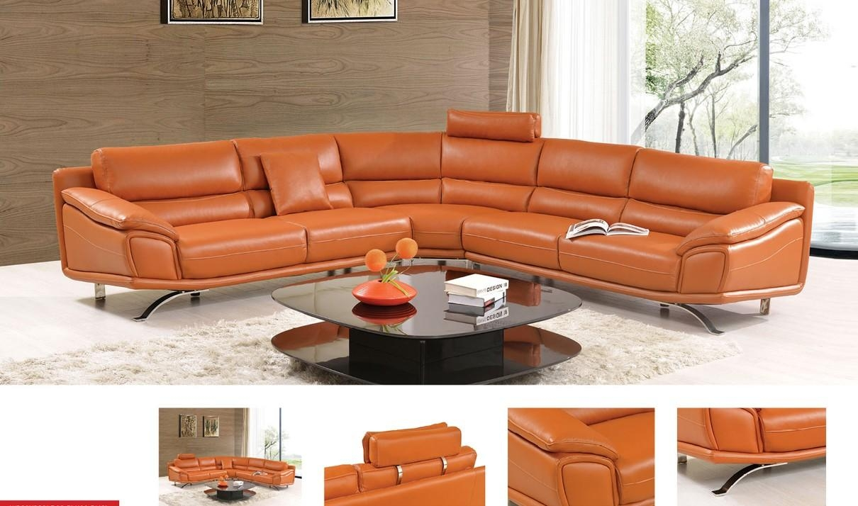 533 Leather Sectional Sofa In Orange | Free Shipping | Get Furniture Pertaining To Orange Sectional Sofa (Photo 11 of 20)