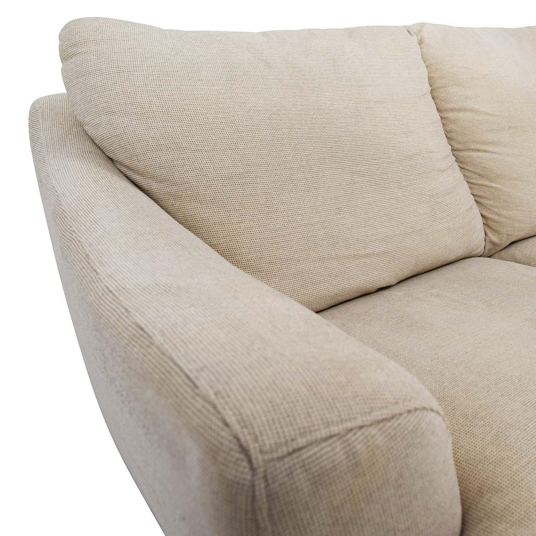 56% Off – Italsofa Italsofa Beige Tweed Three Cushion Fabric Sofa In Tweed Fabric Sofas (Image 2 of 20)
