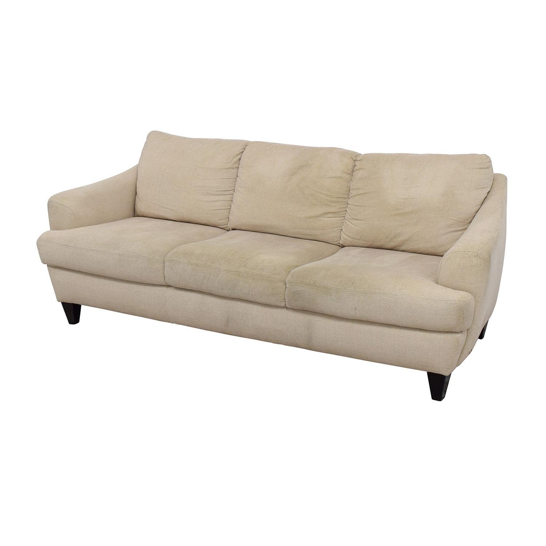 56% Off – Italsofa Italsofa Beige Tweed Three Cushion Fabric Sofa Inside Tweed Fabric Sofas (Image 3 of 20)