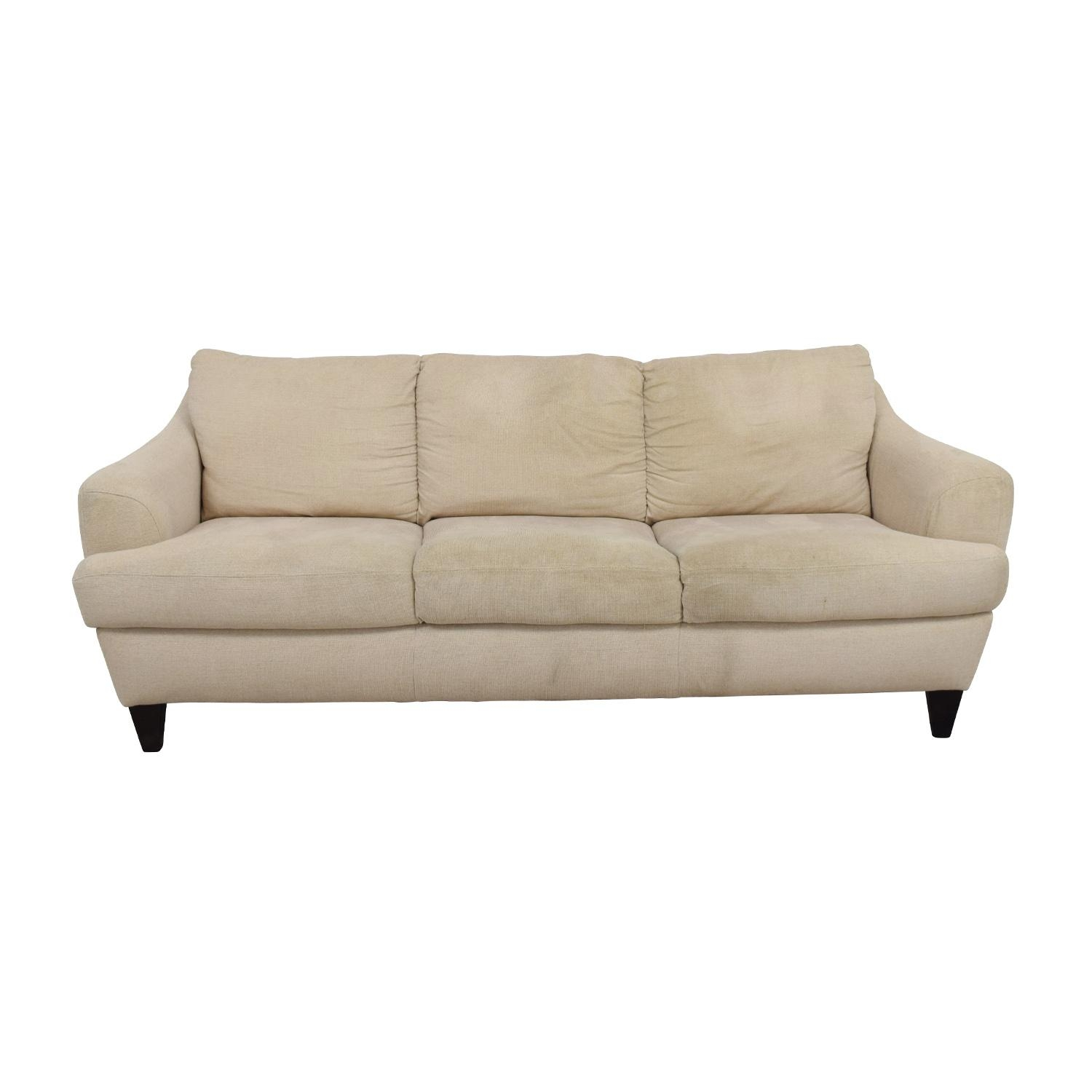 56% Off - Italsofa Italsofa Beige Tweed Three Cushion Fabric Sofa intended for Tweed Fabric Sofas