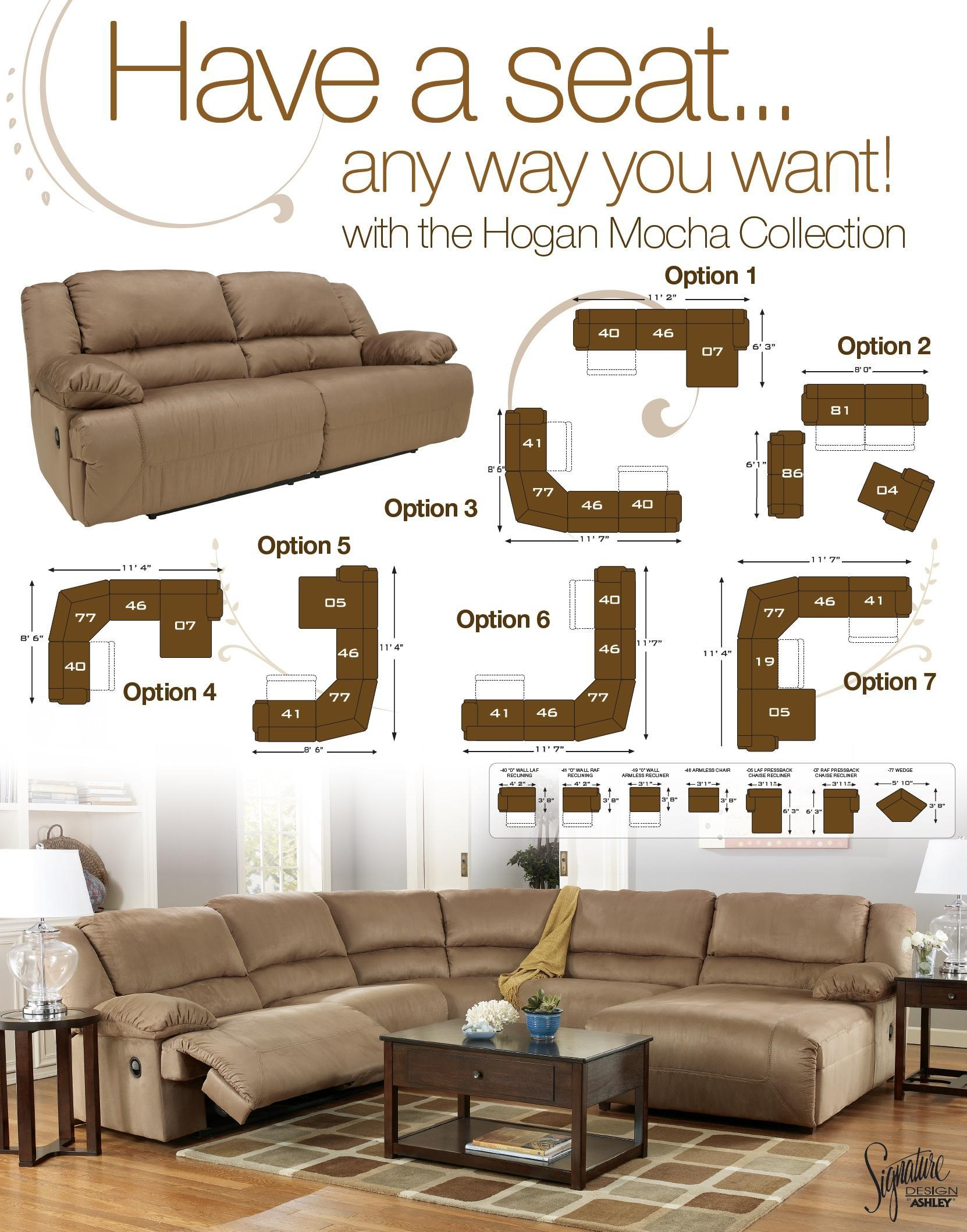 6 Piece Motion Sectional With Left Chaise And Consolesignature For 6 Piece Sectional Sofas Couches (Image 2 of 20)