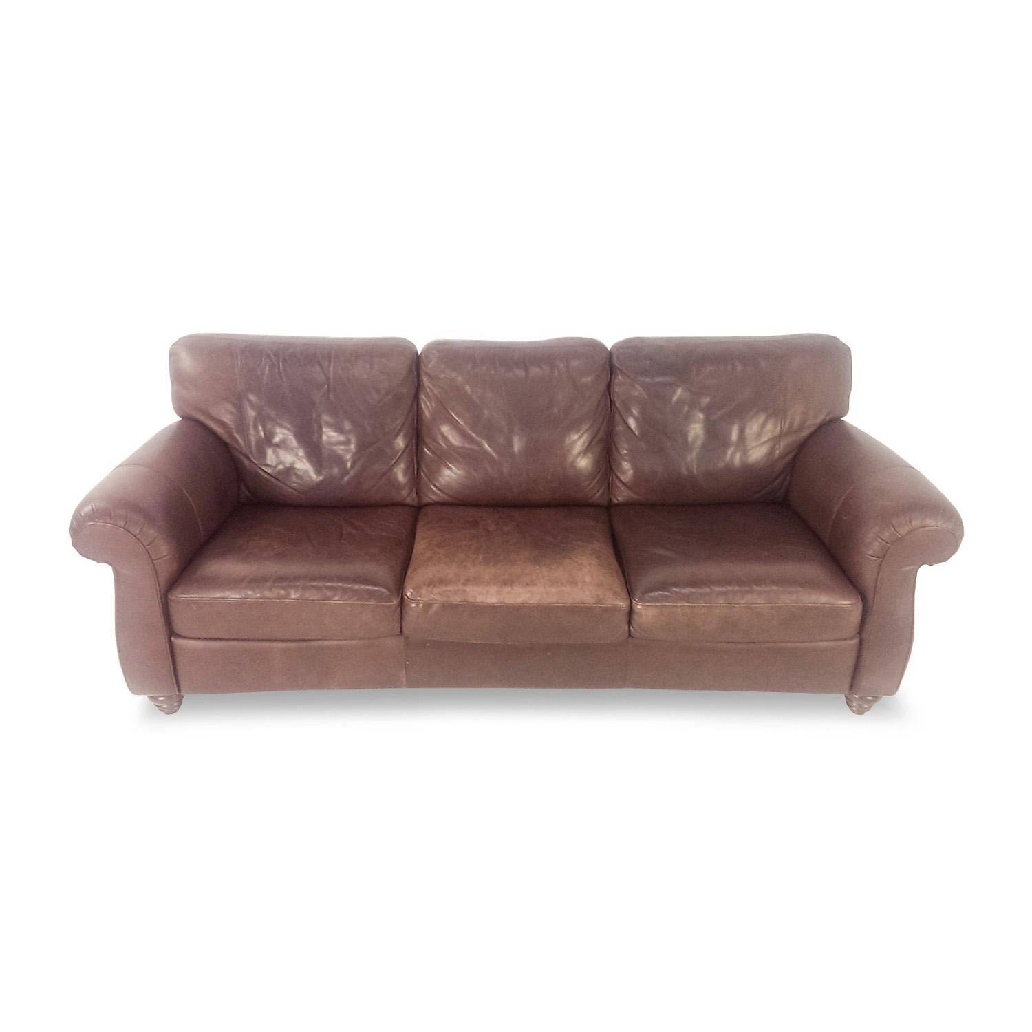 61% Off - Taupe Leather Couch / Sofas in Classic Sofas For Sale