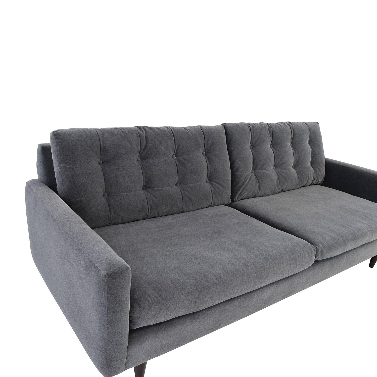 62% Off – Crate And Barrel Crate & Barrel Petrie Mid Century Grey Pertaining To Crate And Barrel Futon Sofas (Image 2 of 20)