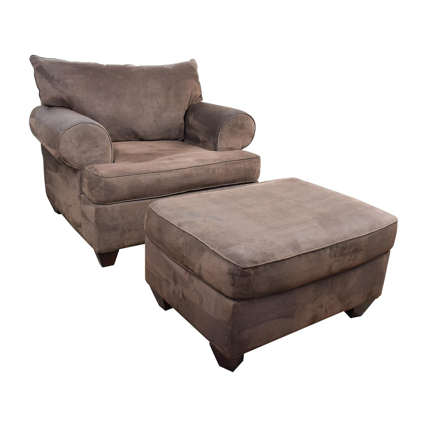 67% Off - Dark Brown Sofa Chair With Ottoman / Chairs intended for Sofa Chair And Ottoman