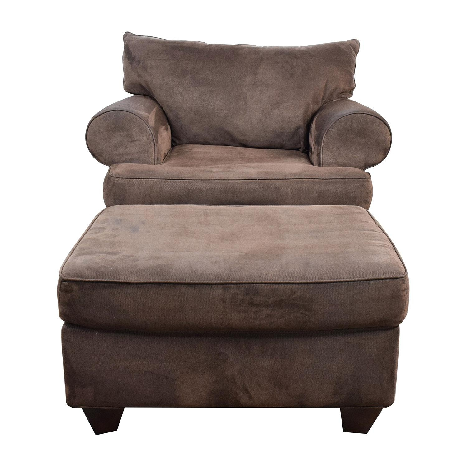 67% Off - Dark Brown Sofa Chair With Ottoman / Chairs pertaining to Brown Sofa Chairs