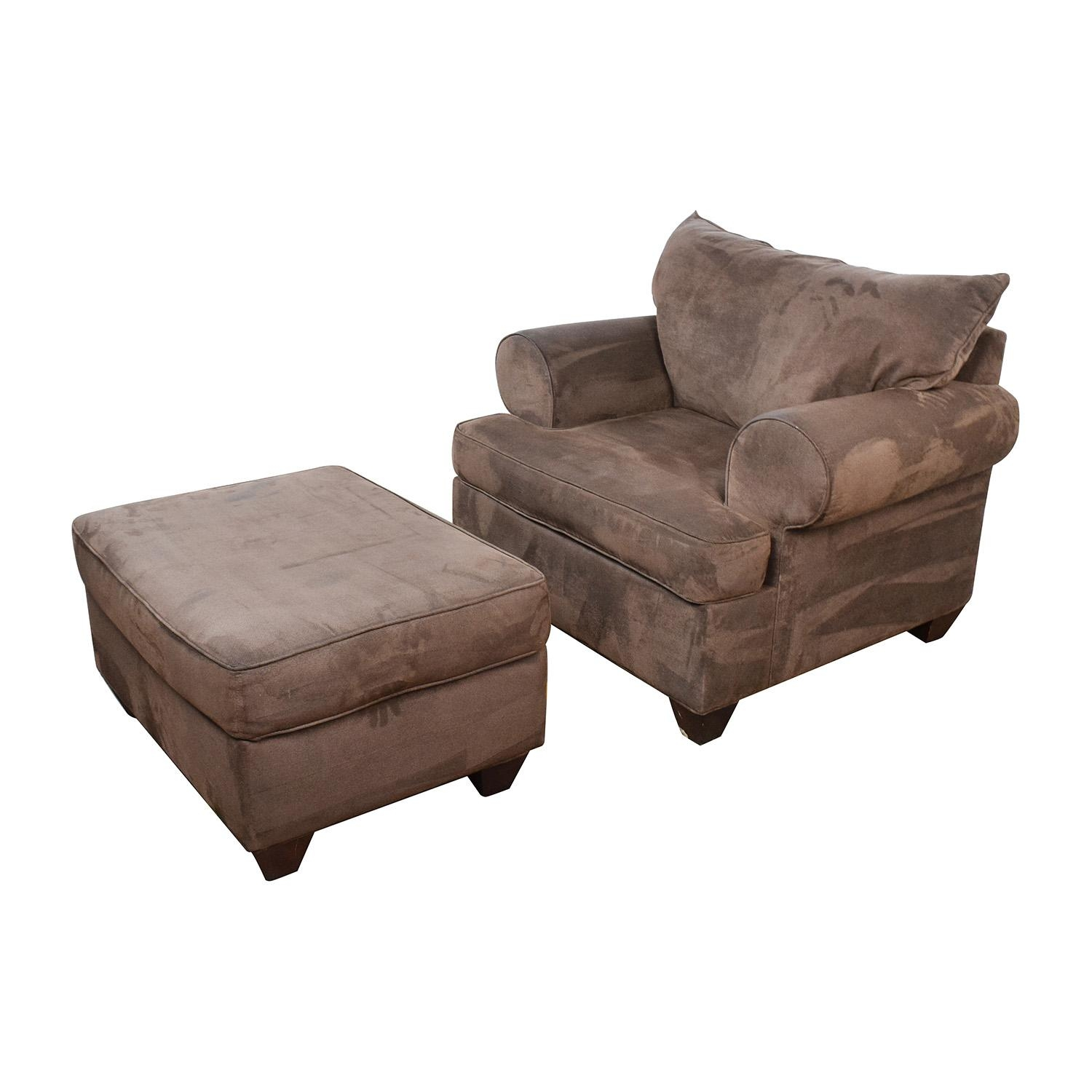 67% Off - Dark Brown Sofa Chair With Ottoman / Chairs throughout Brown Sofa Chairs