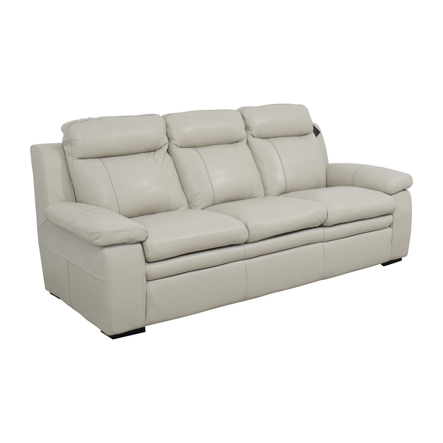 67% Off - Macy's Macy's Zane White Leather Sofa / Sofas throughout Macys Sofas