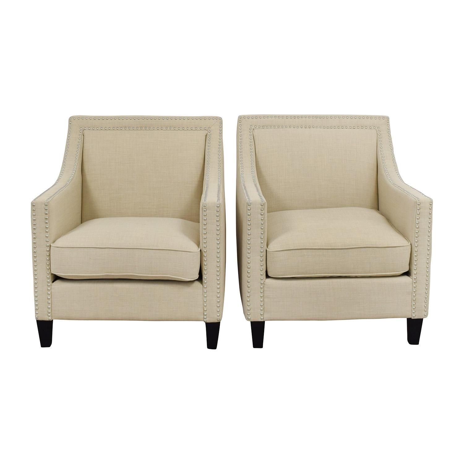 67% Off - Studded Beige Sofa Arm Chairs / Chairs pertaining to Sofa Arm Chairs