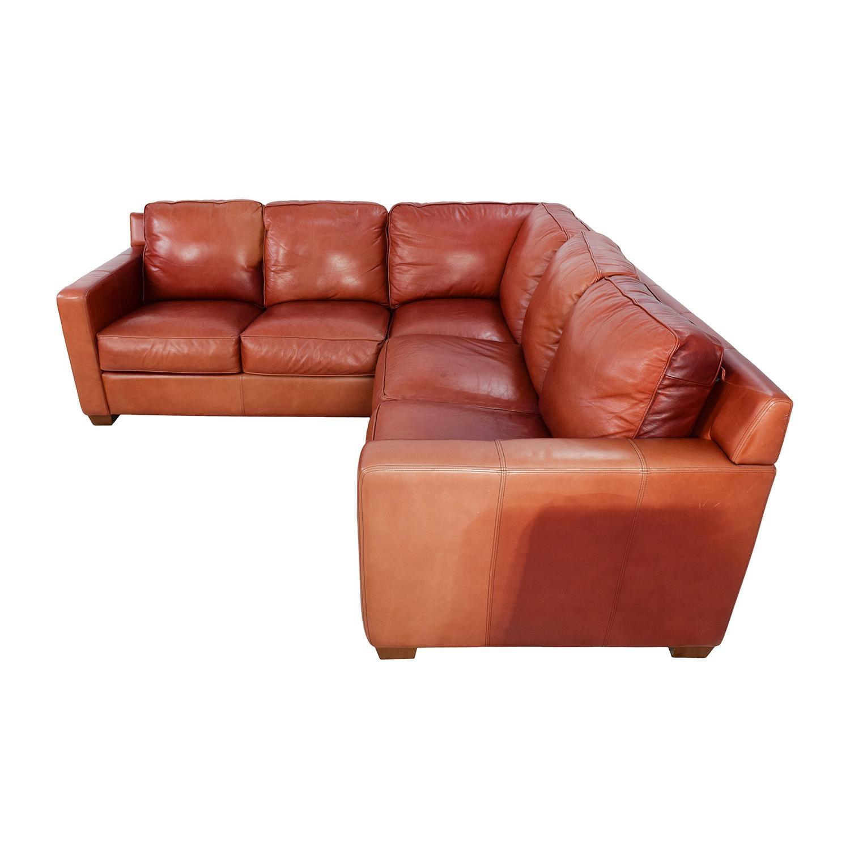 68% Off - Thomasville Thomasville Red Leather Sectional / Sofas pertaining to Thomasville Leather Sectionals