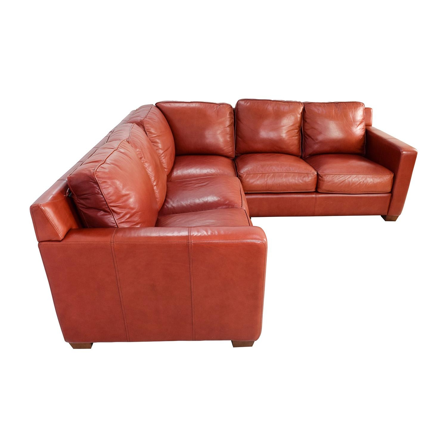 68% Off - Thomasville Thomasville Red Leather Sectional / Sofas regarding Thomasville Leather Sectionals
