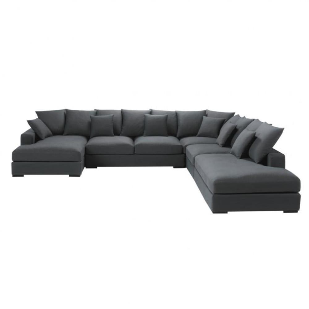 7 Seater Cotton Modular Corner Sofa In Grey Loft | Maisons Du Monde inside Modular Corner Sofas