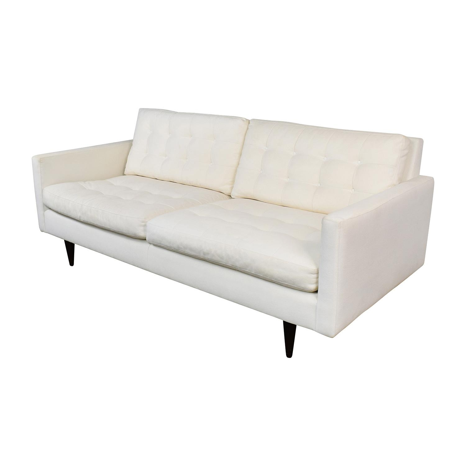 73% Off – Crate And Barrel Crate & Barrel White Twill Tufted Sofa Regarding Crate And Barrel Futon Sofas (Image 5 of 20)