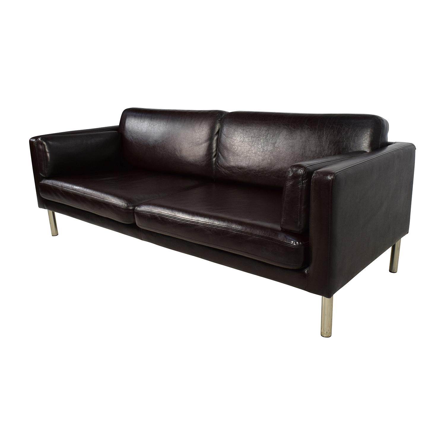 76% Off – Brown Leather Sofa With Chrome Legs / Sofas Pertaining To Sofas With Chrome Legs (Image 4 of 20)