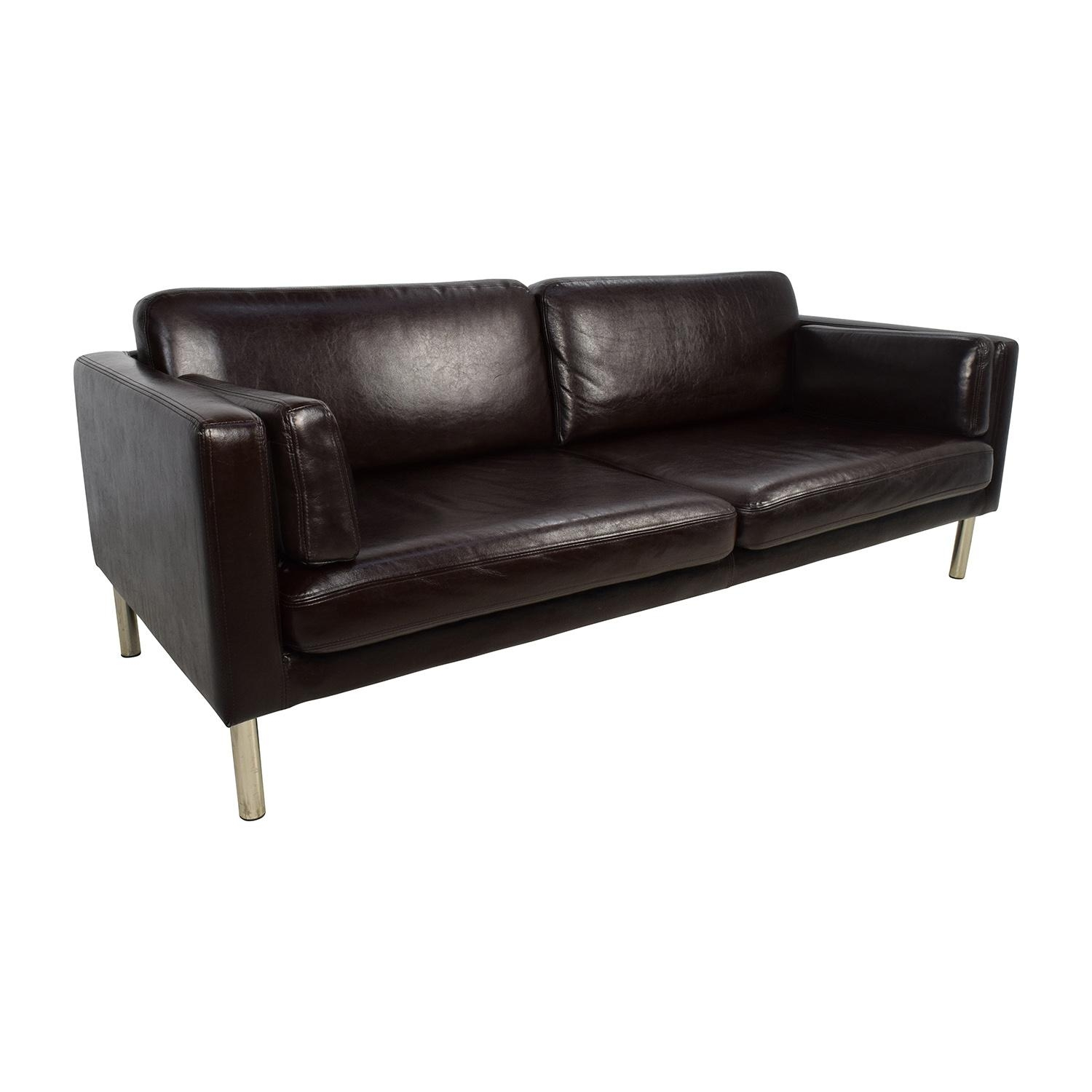 76% Off – Brown Leather Sofa With Chrome Legs / Sofas Pertaining To Sofas With Chrome Legs (Image 3 of 20)